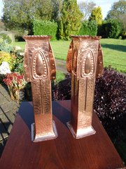 Pair of Arts & Crafts copper vases, Pool of Hayle