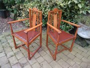 Pair of Arts & Crafts oak armchairs
