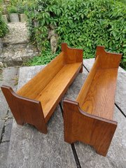 Pair of Arts & Crafts oak book racks