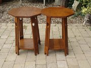 Pair of Arts & Crafts oak lamp tables