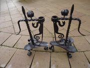 Pair of Arts & Crafts sprung candle holders
