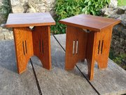 Pair of  small Arts & Crafts tables in oak