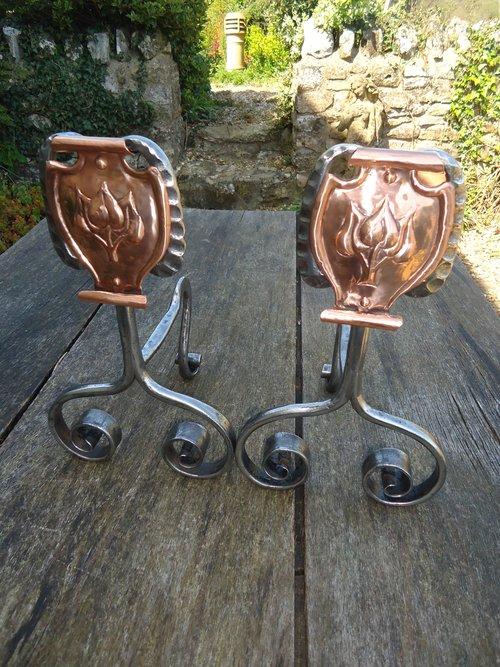 Pair of steel Arts & Crafts Andirons