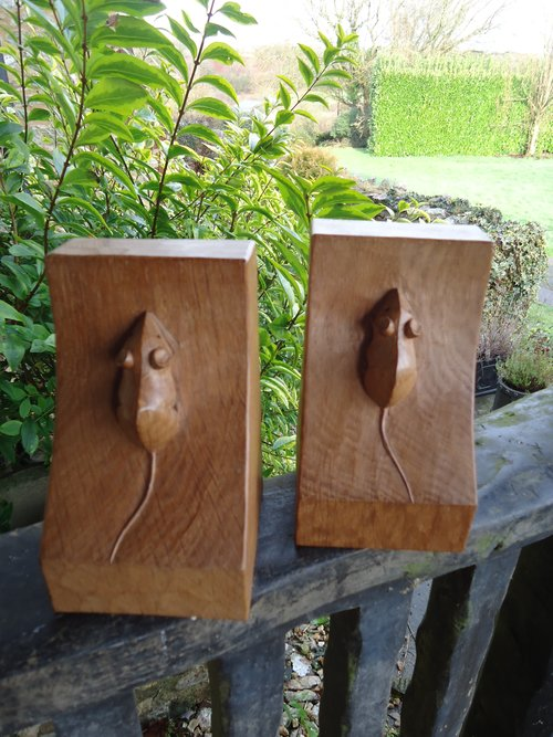Pair of vintage Mouseman bookends