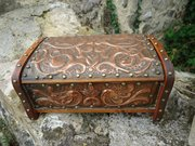 Pretty Arts & Crafts copper casket with floral