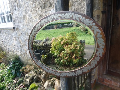 Rare Arts & Crafts Hugh Wallis oval mirror