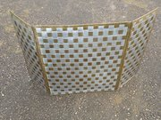 Rare Hugh Wallis pewter and brass fire screen