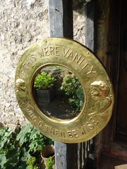 Rare Scottish school brass mirror Skelmorlie