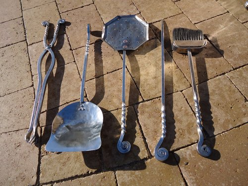 Rare set of 5 steel fire tools - Archibald Carne