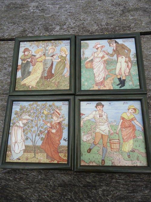 Rare set of Four Walter Crane tiles - Baby's Opera