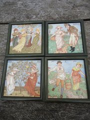 Rare set of Four Walter Crane tiles - Baby's Opera