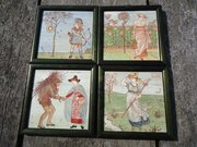 Rare set of four Walter Crane tiles Baby's Opera