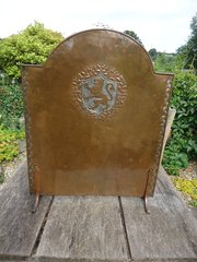 Rare Hugh Wallis firescreen with lion rampant