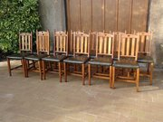 Set of 12 Arts & Crafts oak chairs for Liberty