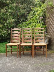 Set of 3 Cotswold School rush seated chairs