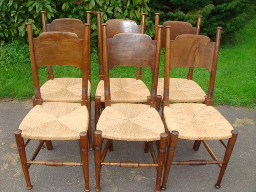Red House Antiques - Set of 6 William Birch oak dining chairs