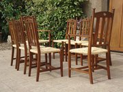 Set of 8 Arts & Crafts oak dining chairs - Liberty