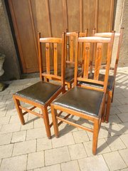 Set of Four oak Arts & Crafts dining chairs