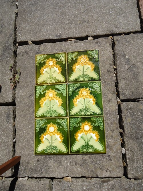 Set of six Arts & Crafts floral tiles