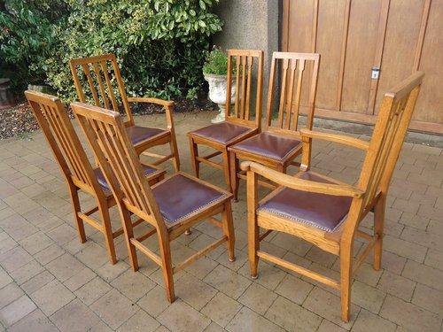 Set of six Arts & Crafts Glasgow school oak chairs