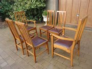 Set of six Arts & Crafts Glasgow school oak chairs