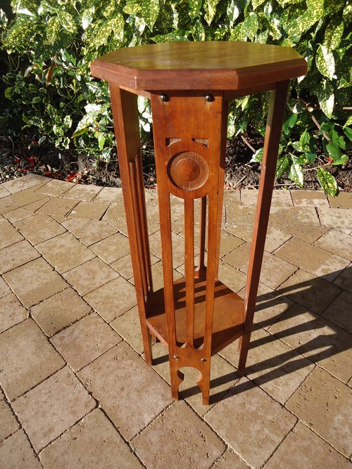 Small Arts & Crafts Moorish oak plant stand