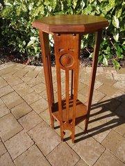 Small Arts & Crafts Moorish oak plant stand