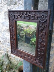 Small Arts & Crafts carved oak mirror