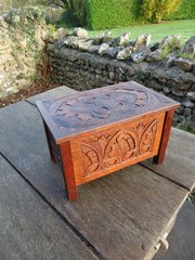 Small Arts & Crafts carved oak coffer