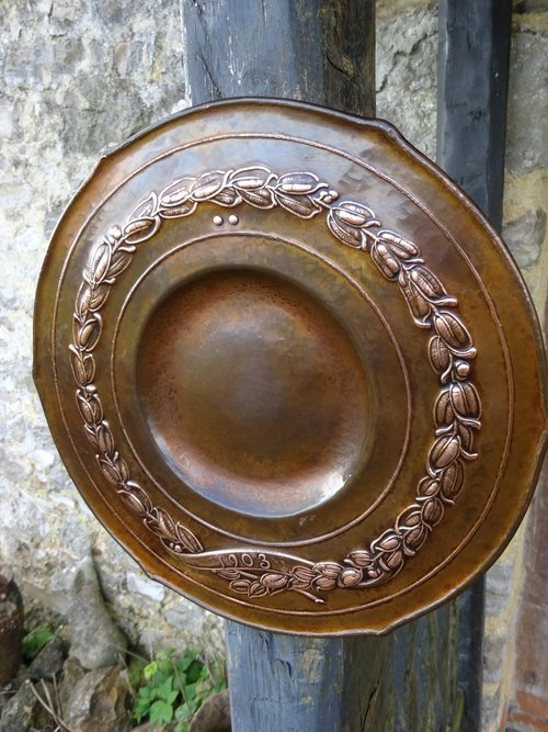 Small Arts & Crafts copper charger with garland