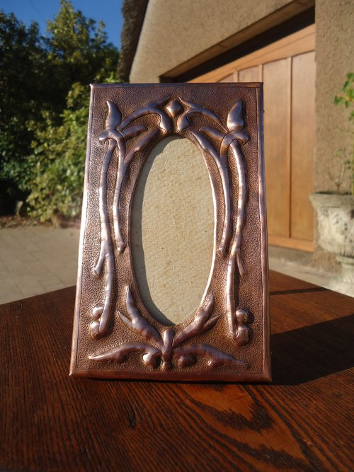 Small Arts & Crafts copper photo frame