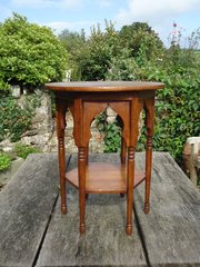 Small Arts & Crafts oak table in the Moorish style