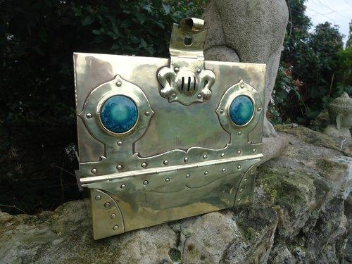 Stunning Arts & Crafts brass casket with Ruskins
