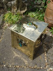 Stunning Arts & Crafts coal box with cabochons