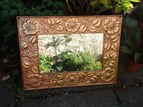 Stunning Arts & Crafts copper mirror - overmantle