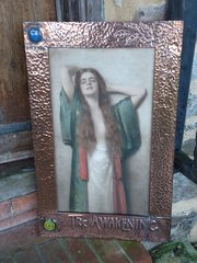 Stunning Arts & Crafts print with title &cabochons