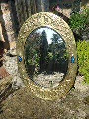 Stunning Scottish School mirror with cabochons