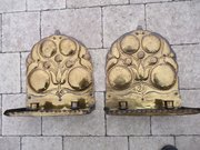 Stunning large pair of Arts & Crafts Brass Sconces