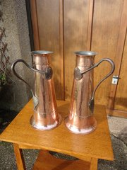 Stunning pair of  large Arts & Crafts copper jugs
