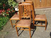 Stunning set of 4 Arts & Crafts oak dining chairs.