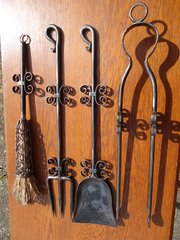 Stunning set of 4 Crafts steel fire irons on stand