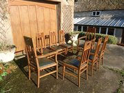 Stunning set of Eight oak dining chairs