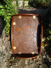 Superb Aesthetic movement carved butler's tray