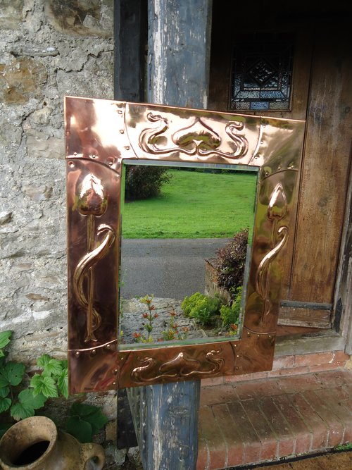 Superb Arts & Crafts Copper mirror. Liberty