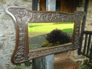 Superb Arts & Crafts caved oak overmantle
