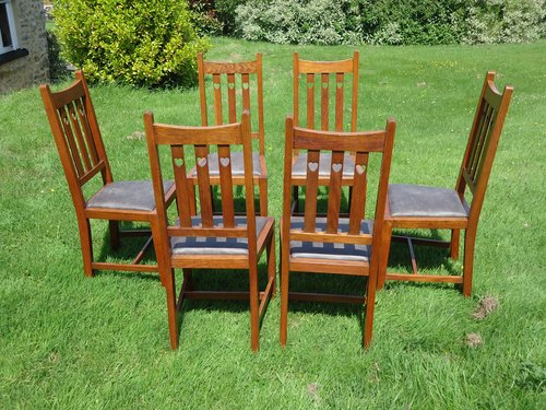 Superb set of 6 Arts & Crafts dining chairs