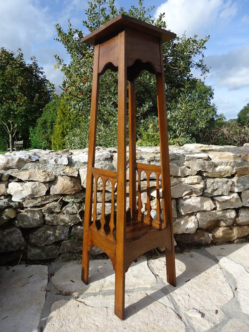red house antiques   tall arts amp crafts plant stand   torchere