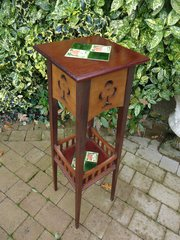 Tall Arts & Crafts plant stand with tiles