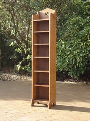Tall & slim Arts & Crafts bookcase with yin-yang