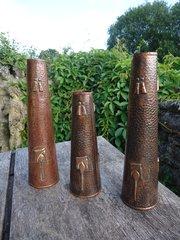 Trio Of Arts & Crafts Newlyn school spill vases